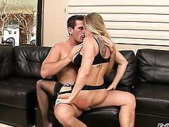 Manuel Ferrara cant wait any longer to put his fuck stick in charming Dyanna Laurens mouth