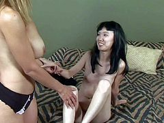 Naive asian girl Lystra gets talked into threesome