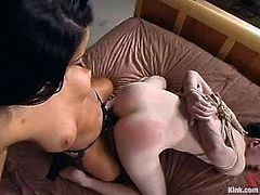 This guy will be on pain as the brunette vixen will torture him and fuck his ass with strapon dildo in this BDSM femdom vid.