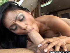 A fucking dirty-ass whore sucks on a hard dick and then gets it shoved balls deep into her motherfuckin' gash, check it out right here!