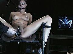 This girl is an object of BDSM fantasies. She doesn't know what is next. Hogtie bondage, tits pumping or even something more terrifying?