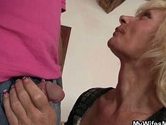 Courtesy of My Wifes Mom you can see how a blonde mother in law seduces a young stud and drives him completely crazy. Then she's ready for her cunt to be blasted into kingdom come.