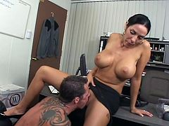 Stunning brunette chick with fake tits gets her pussy licked in the office. Then she sucks the guy off and gets fucked hard on a sofa.