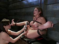 Curvaceous brownie gets tied up and wired by a brunette. Later on Felony gets her pussy licked and toyed hard by Bobbi Starr.
