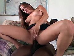 Brown-haired girl gives a blowjob & titjob combo to Black dude. Then she gets fucked deep and hard in her smooth pussy in hot interracial video.