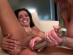 Two juicy and such a petite babes are going to have so much fun on each other! Milfs got some sex toys and they are using them!