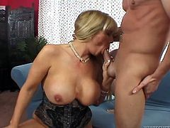 Voluptuous and big woman is wearing tight corset while getting her hairy pussy licked actively. After getting hot lube job she gets on top of solid pecker bouncing her ample ass actively.