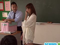 Moe Tsukina is a stunning Japanese schoolgirl with tight pussy and nice natural tits. She shows her classmates how to suck cock like a pro!
