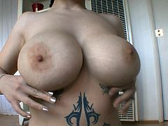 Big tits brunette doll goes wild and nasty with a big cock up her mouth