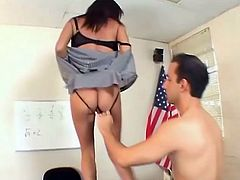 Busty and sexy milf is a new office manager. Alexis Silver is her name and that huge cock of her boss will track her to a bright career.