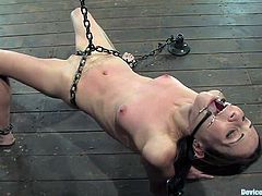 Pretty brunette girl with slim body gets chained to the floor. She also gets her mouth gagged with ball gag and a spider gag. She also gives a handjob to the guy.