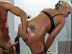 Dirty blonde hooker with ample booty and big boobs is stuffed in her gaping butt hole with meaty cock. She takes massive rod deep in her ass hole doggy style. Outrageous anal fuck video presented by Brazzerrs Network.
