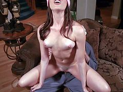 Sexy blindfolded brunette Dana Dearmond with natural tits and nice pink shaved pussy drilled by Mark Wood in Halloween porn parody. Watch Dana Dearmond get her tight asshole used.