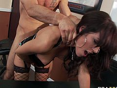 Slutty office worker is wearing fishnet stockings and tiny black mini skirt. She is penetrated upskirt from behind. Horny bald dude drills her cunt deep and rough. Press play and enjoy watching steamy office sex scene presented by Brazzers Network.