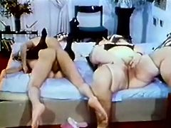 Old brunette fattie Tina is having fun with a dude and some slim chick. The women please the guy with a hot blowjob and then welcome his weiner in their cunts.