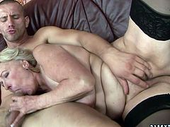Old woman in black stockings knows what oral sex is all about. She makes her lover eat her snatch. Then she pleases him with a blowjob.