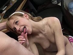 Slim blonde with perky tits gets ravaged and made to swallow by her guy