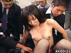 Satomi Maeno's haiiry pussy and tiny tits are teased by multiple men. While they play with her body she blows their cocks.