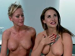 The big boobed blonde Simone Sonay will get an anal strapon fuck from Chanel Preston in this lesbian femdom video.