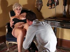 Short haired blonde bombshell seduces Ryan McLane