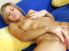 Small tits Ollie moans hard while deep fingering her puffy clit and pussy