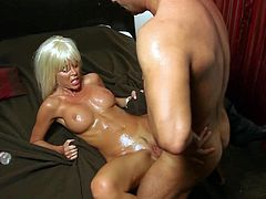 Cock loving blonde bimbo with fit body and big firm gazongas gets drilled deep by randy lover with long rock hard sausage and makes him cum all over the face and tits.