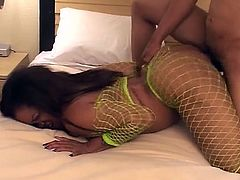 Ebony babe in yellow fishnet suit gets fucked deep and hard in this amazing video. See her getting her mouth banged deep and hard before it's her cunt's turn.