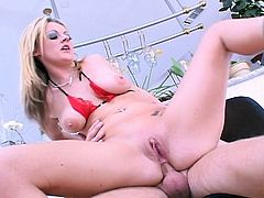 Watch this sexy bubble ass busty blonde babe Sophie Dee dropping her panties and spreading her luscious ass cheeks for some big American beefstick. Our well hung guy show this long legged European sex queen some western hospitality as he pound her wet pussy and tight butt hole.