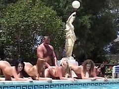 Baby Silver, Jessica Rox, Carla Cox and Madison Parker share cock in this hardcore group fucking encounter by the pool. This lucky stud enjoys the sun and the wet pussy slits served to him extremely hot under the sun.