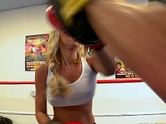 Nasty blonde Jessica Lynn gets her big boobs sucked by trainer