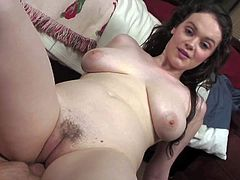 Dark haired pale babe Tessa Lane with big round bums and natural knockers rides on her lover in various positions on the floor while he films everything in point of view.
