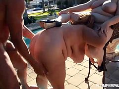 Courtesy of Plumper Pass you can see two busty bbws in bikinis share a hard cock by the poolside. Both the nasty blonde and the horny brunette get spectacularly banged!