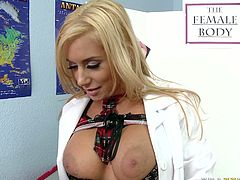 Lustful blonde allows one strange guy to touch her big appetizing melons. She gets horny and kneels down to give him best ever blowjob.