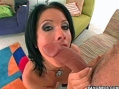 Dude shoves his big hard boner into this slutty brunette's wet pussy, hit play and check it out right here, it's hot!