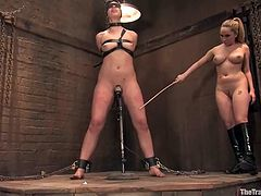 Two hot girls lick pussies and get fucked by their master