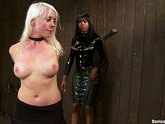 Lorelei Lee and Sexy Jade are two beautiful girls in nice dresses. They sit on the floor being chained. You will see their sexy legs and nice tits.