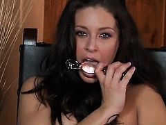 Gracie Glam with clean bush is curious about toying her vagina on camera