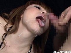 Small tits is not a problem for those fuckers and they are ready to enjoy while that horny slut suck their hard cocks and wait for facial after that.