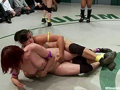 Nasty chicks in bikini fight in one on one fights in Ultimate Surrender tournament. These bitches also play with each others pussies as well.