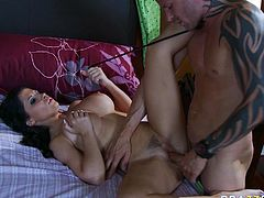 Voracious brunette wench with big boobs gets her wet punani polished properly. She then gets penetrated in muffin in a missionary position. Brutish stud drills her cunt deep and rough.