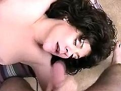 Cock sucking and cock jerking with her big melons makes this dude insane, he is ready to place his tool in her hairy cunt after that.