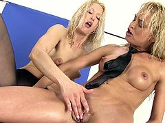 Naughty babes are pretty dirty in their naughty and hot lesbian masturbation show