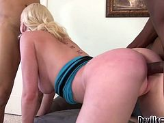 This insatiable blonde slut serves three dudes at the same time. They fucks all her holes in doggy style position. Don't skip gangbang Fame Digital sex video for free.