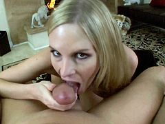 Blonde cougar Aimee Addison teases younger stud by blowing him in POV oral