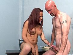 She should have paid attention to her teacher, but instead all, this sexy tranny thoughts, was about sucking his cock. The petite shemale acted like a filthy whore, in front of her bald teacher and raised his dick. Seeing her so naughty, he gave her a short suck and then, she knelt and blowed him. Will he cum on her boobs?