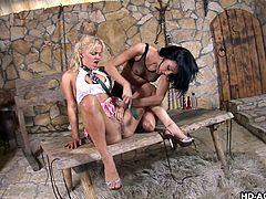 Sexy babe Ivy climbs on top of her milf lesbian lover Francesca Le in the cellar of their home. The two lesbians kiss each other passionately and then the blonde goes to work eating the dark haired woman's pussy.