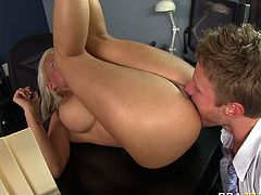 Full bodied blonde porn model Holly Halston is fucked hard missionary style