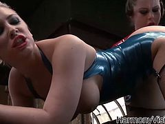 Provocative mistress wearing latex red outfit fucks her lesbian girlfriend and later makes her polish her pussy. Enjoy watching lesbian sex video for free.