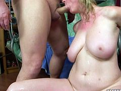 Although she is a lady at certain age she still knows how to treat a man. When it comes to cocks this whore is unstoppable. She takes one stiff dick after another sucking them all dry.