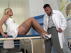 This charming blondie is sick and tired of her doctor's excuses. Every time she wants to hang out with him, he tells her that he's busy. This time she isn't taking no for an answer. At first, she makes him worship her hungry pussy. Then she returns the favor and sucks his swollen cock.